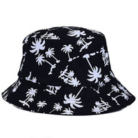 Wholesale Fabulous Graffiti Flat Bucket Hat with Coconut Tree Pattern Outdoor Hat Fashion Accessories