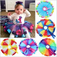 Wholesale Kids Petticoat Rainbow Skirts Baby Pettiskirt Bowknot Skirt Tutu Tulle Costume Mini Dress Ruffle Skirt Flower Ballet Dress Dancewear B446