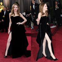angelina jolie dresses - Angelina Jolie Tiered Red Carpet Dress Sexy Black Vestidos Celebrity Gown Side Split Evening Party Dress