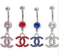 belly button diamond - Body Jewelry Belly Button Rings Dangle L Stainless Steel Silver With rhinestones Navel Body Piercing Jewelry Belly Navel Rings
