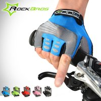 Wholesale ROCKBROS Fashion Cycling Mens Women s Gel Pad Half Finger Gloves Bike Bicycle Cycle Non Slip Breathable Gloves Color
