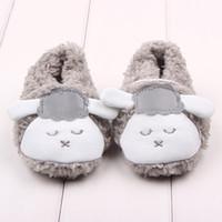 baby black sheep - Lovely Winter Plush Lazy Sheep Fur Newborn Baby Shoes Soft Sole Toddler Boy Girl Crib Shoes cm