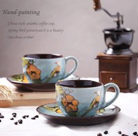 Wholesale 2016 Coffee cup ceramic Creative personalized China style hand painting spring bird pattern ml business gift breakfast milk tea mugs