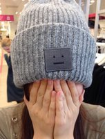 Wholesale 2016 autumn winter fashion smiling face pattern knitting wool hats for men and women hipster parent child