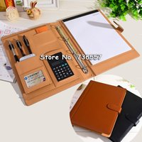 leather notebook with calculator - PU leather folder Padfolio multifunction organizer planner notebook ring binder A4 file folder with calculator office supplies