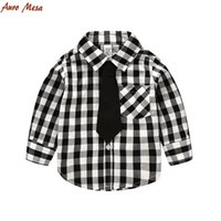 Wholesale Fashion Gentleman Boys Shirt Long Sleeve Plaid Shirts With Tie Cotton Kids Tops For Boys Color