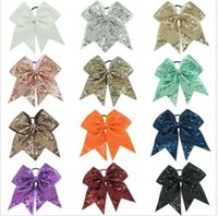 Wholesale 15 off Inch Large Sequin Popular Cheerleading Cheer Bow With Elastic Band fashion girl hair bands Girls hair Accessories colors