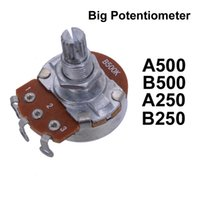 Cheap 10pcs Big Potentiometer A500K B500K A250 B250 Full Size Short Split Shaft 18mm Guitar Volume Tone Pots for ELectric Guitar