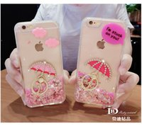 apple iphone lanyards - iPhone s plus mobile glitter case quicksand diamond shell sets iphone s case stent ring mesh lanyard silica gel case