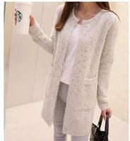 Wholesale New Autumn Winter Women s Sweater Coat Korean Fall Long Beige Pink Fashion Casual Long Jacket Cardigan
