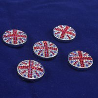 Wholesale Bling Alloy Beads with Crystal Grains of British Flag Art Applied Welcome Custom Designs