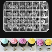 Wholesale 24PCS LARGE ICING PIPING NOZZLES TIPS CAKE DECORATING SUGARCRAFT SET WITH BOX H210818