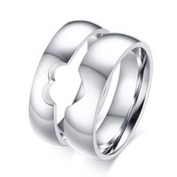 band puzzle ring - Stainless Steel Silver Heart Puzzle Wedding Band Plain Simple Heart Promise Ring Jewelry for Couples Mix Size