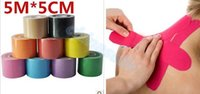 Wholesale 5cm m Muscle Tape Sports Tape Kinesiology Tape Cotton Elastic Adhesive Muscle Bandage Care Physio Strain Injury Support tool