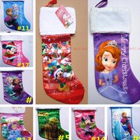 Wholesale SALE Frozen Christmas sock Xmas Cartoon Socks decoration Princess Elsa Anna Socks Kids Children Party Gift Socks Christmas Tree Ornaments