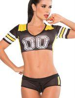 achat en gros de costume cheerleader-Vente en gros-Sexy Soccerbaby Football Filles Cheerleader Crop Top avec Boxer Costume Uniforme Sport Costumes Costumes Groupe Équipe Rouge Bleu