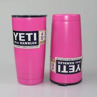 coffee mugs - 2016 Pink Yeti Rambler Tumbler oz Stainless Steel Mugs Tumbler Rambler Mugs Coolers Beer Cup Double Wall Insulated Coffee Mugs Cups
