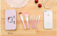 Wholesale Cheap DHL Hello Kitty MakeUp Cosmetic Brush Kit Makeup Brushes Pink Iron Case Toiletry Beauty Appliances Cute Mini Case set