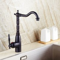 Wholesale Kitchen Sink Faucet Antique Brass Oil Rubbed Bronze Single Handle Basin Tap with Ceramic Plate Spool