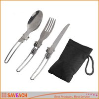 Wholesale 3 in Foldable Outdoor Camping Picnic Tableware Stainless Steel Folding Fork and Spoon With a Storage bag