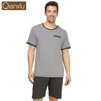 Wholesale Qianxiu Brand Pajamas Summer Stripes Plus Size Sleepwear Men Short sleeve Pants Pajama Set