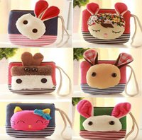 animal mix shoulder - Cute Mini key Wallet bag Women canvas Coin Purse Mixed Color lovely Animals Coin bag By DHL JF