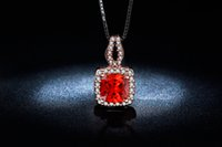 big rubies - Roes gold plated necklace Fashion jewelry for Women big Red ruby jewelry AAA Zircon Wedding Luxury Pendant MSN009