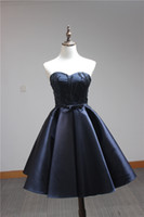 Wholesale In Stock Beaded Short Prom Party Dresses Cheap Sweetheart Navy Blue Satin Corset Cocktail Homecoming Gowns under