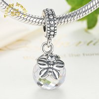 Wholesale Fashion Sterling Silver Chain Pearl Drop Pendant Necklace with Clear Cz Fits Style DIY Jewelry Charms