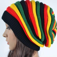 Wholesale Winter Jamaica Rasta Reggae Beanie Cap Multi colored Striped Hip Hop Baggy Slouchy Beanies Skullies Hat Gorro Knit long colorful