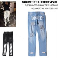 american vision - Street Casual Fashion Washing Frayed Slim men s Jeans OFF WHITE C O Denim Jeans Pyrex Vision Hip Hop Kanye west
