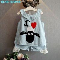 american lamb - Girls Clothing Sets Brand Summer Style Kids Clothing Sets Cowboy Turn down Collar lamb T shirt Pants Suit