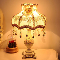 beige shade cloth - 1 piece Europe type resin table lamp with cloth lamp shade Warm bedside lamp with carving flowers Simple home decoration lamp