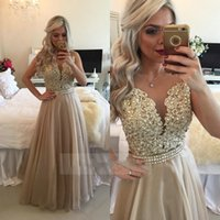 Wholesale Champagne See Through Back Lace Organza Evening Dresses Long Gold Burgundy Beaded Applique Prom Gowns Robe De Soiree Vestidos Longo
