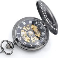 cheap mechanical pocket watches for shipping black pocket watch for mens chain hand winding 17 crystals mechanical movement pocket watches for s can be mixed batch