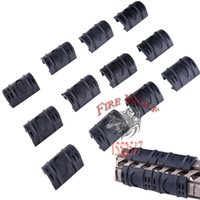 Wholesale Cover For Quad - 2016 NEW 12Pcs Tactical For Picatinny Weaver Black Rail Rubber Cover Panels Guard Covers Rubber Handguard Quad Rail Covers