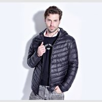 Wholesale Fall HOT Winter Men White Duck Down Jacket Men s Hooded Ultra Light Down Jackets Warm Winter Coat Parkas Pocket Solid