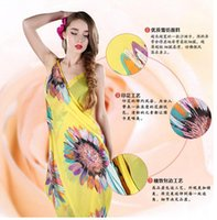 asymmetrical swimwear - DHL Summer New Deep V Wrap Chiffon Swimwear Bikini Cover Up Sarong Beach Dress