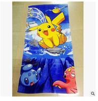Wholesale Pikachu Bath Towel cm Beach Towels for Adults Kids Baby Christmas Bathroom Swimming Newest Towel Christmas Gift
