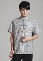 Wholesale New Chinese Style Gray Men s Cotton kungfu Tang Shirt Top Vintage Button Mandarin Collar Costume sz M XL