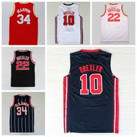 Wholesale Best Hakeem Olajuwon Jersey Throwback Uniform USA Dream Team One Clyde Drexler Shirt Rev New Material Red White Blue