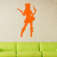art deco people - Cute Sexy Woman With Guns Bedroom Art Deco Living Room Vinyl Wall Stickers