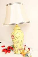 Wholesale ceramics table lamps desk lamp lighting indoor lighting fabric lampshades with colored drawing rose housing and accommodation decoration