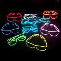 Wholesale Fashion Blue EL Smart Glasses fFashion Neon LED Light Up Sun Glasses for Wedding Christmas Holiday Rave Costume Party Gift