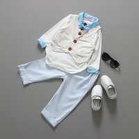 baby pants thank - new Baby suit gentleman boys clothing set Three sets vest long sleeves shirt long pant blue bebe thanks