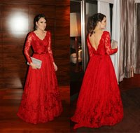 Wholesale Red Dresses Evening Wear With Long Sleeves Deep V Neck Backless Illusion Formal Gowns Beaded A Line Party Dress