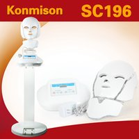 Wholesale 3 in Photon Therapy LED Facial Mask Neck Face PDT Facial Machine With Stand Beauty Salon Use For Skin Rejuvenation