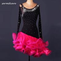 Wholesale D080 Cheapest with Gift Long Sleeve Rhinestones Women Latin Dance Dress with Fishbone Samba Dance Costumes Tango Salsa Dress Samba Costume