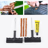 auto rubber kits - Portable Set Car Tubeless Tire Tyre Puncture Plug Repair Tools Kits Car Auto Accessories Motorcycle Bicycle Rubber Cement