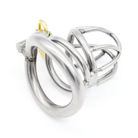 Cheap NEW Stainless Steel Super Small Male Chastity device Adult Cock Cage With Curve Cock Ring BDSM Sex Toys Bondage Chastity belt